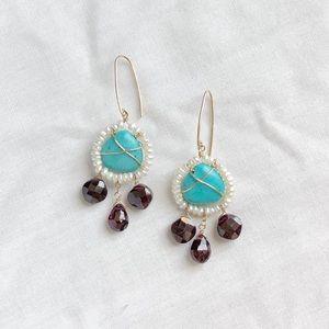 Jewelry - handmade turq + garnet